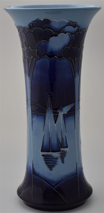 Moorcroft Pottery Yachts At Moonlight Vase By Paul Hilditch Limited Edition